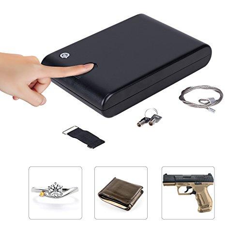 CO-Z Portable Hand Gun Safe, Lockbox Jewelry Lock Box, Pistol Safe, with Key Lock & Fingerprint Sensor for Valuables, Cash, Pistols & Handguns (XL, Fingerprint & Keylock)