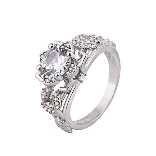 (Women Ring, Alonea Women Eye Shape Jewelry Dotted Wedding Ring Gifts Ring Engagement Rings for Her Size 6# -10# (Sliver 8#❤️))