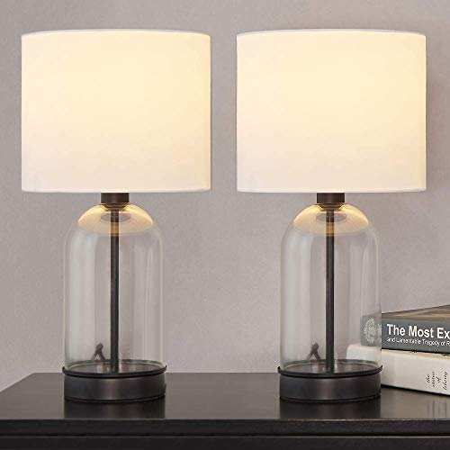 Cuaulans 2-Pack Modern Design Glass table lamps, 16 inch Black Table Lamps Set of 2 Side Table Lamps for Living Room Dining Room Bedroom