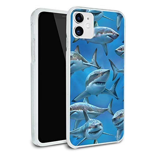 Great White Sharks Ocean Diving Pattern Protective Slim Fit Hybrid Rubber Bumper Case Fits Apple iPhone 8, 8 Plus, X, 11, 11 Pro,11 Pro Max