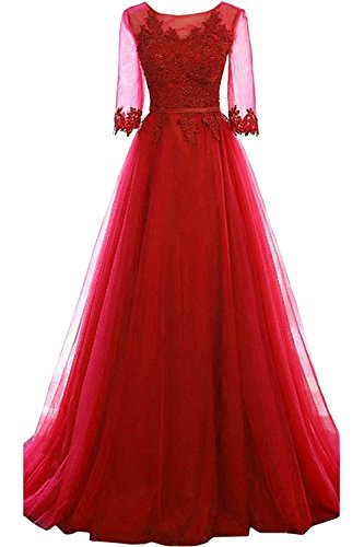 Long Formal Party Dress, Jewel Floor-Length Tulle Evening Gown for Women with Half Sleeves-Red-6