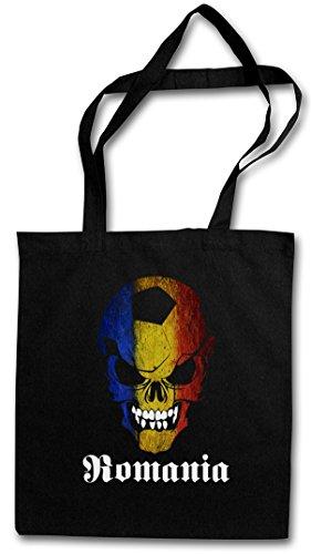 BLACK CLASSIC ROMANIA FÚTBOL FOOTBALL SOCCER SKULL FLAG Hipster Shopping Cotton Bag Cestas Bolsos Bolsas de la compra reutilizables �?bandera cráneo Rumania Fan Hooligan Rumänien