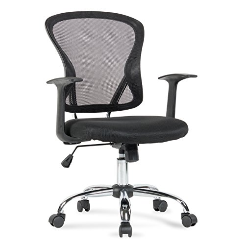 Belleze Mid-Back Task Chair Mesh Office Chair Arms Built-In Lumbar Support, Black by Belleze