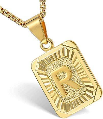 Hermah 26 Gold Plated Square Capital Initial Letter Charm Pendant Necklace for Men Women Box Steel Chain 18-22inch – The Super Cheap