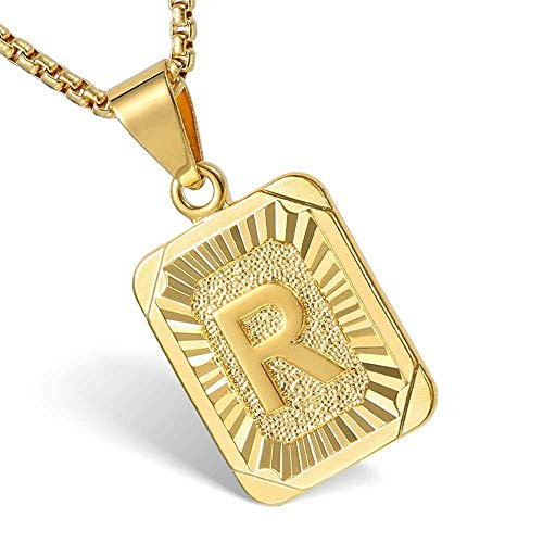 Hermah Gold Plated Square Capital Initial Letter R Charm Pendant Necklace for Men Women Box Steel Chain 22inch Link