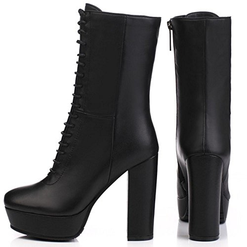 With Boots Lace Heel Zipper Block High Women Ankle Up Leather TAOFFEN Classical Black xSqzUC8