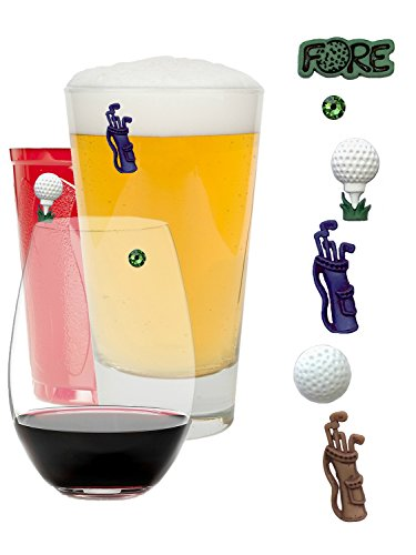 Wine Charms Golf Themed Magnetic Drink Markers on Par as a Great Gift for Golfers - Set of 6 by Simply Charmed by Simply Charmed