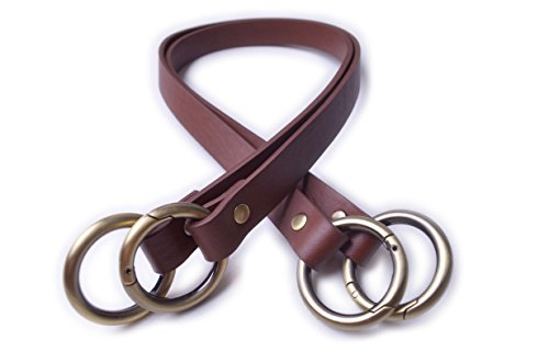 Wento Pair 23 inches Vinyl Leather Brown Purses Straps With Big O Ring(1 1/4'' inner size) End,Vinyl Leather Bag Handles,replacement Purse Straps,Brown handbag Bag Wallet Straps WT100 (Brown) … ()