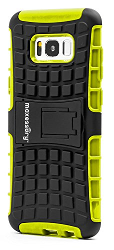 Maxessory Offroad Shock-Proof Rugged Dual-Layer Armor Rigid Ultra-Slim Kickstand Protective Hard Tough Hybrid Phone Cover Shell Green Case Compatible with Galaxy S8 Plus/Galaxy S8+