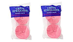 Pink Crepe Paper Streamers 2 Rolls 145 ft Total - Made in USA!