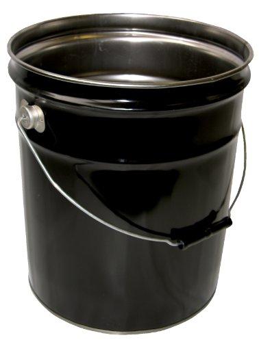 Vestil PAIL-STL-RI Steel Open Head Pail with Handle, 5 gallon Capacity, Black by Vestil (Image #1)