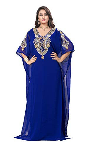 KoC Women's Kaftan Maxi Dress Farasha Caftan KFTN117-Royalblue