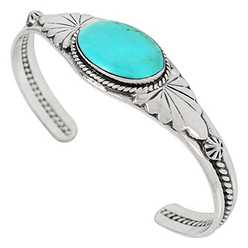 Turquoise Bracelet Sterling Silver 925 Genuine Turquoise (Turquoise)