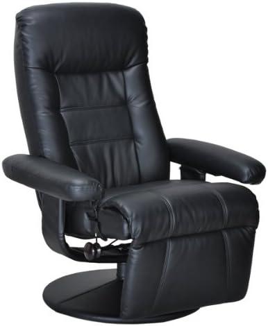 省スペース【座ったままで簡単操作】オットマン一体型リクライニングチェアRC5500 ブラック