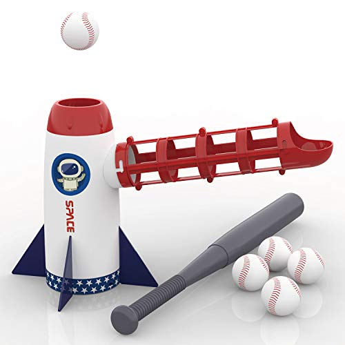 iPlay, iLearn Backyard Baseball Pitching Machine Toys, Training Sport Set, Outdoor Pitcher, T Ball Batting Practice Equipment, Birthday Gifts for 3, 4, 5, 6, 7 Year Olds, Kids, Boys, Girls