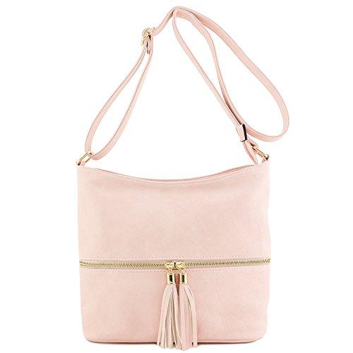 Blush Tassel Bucket Zipper Bag Crossbody AAqPfa