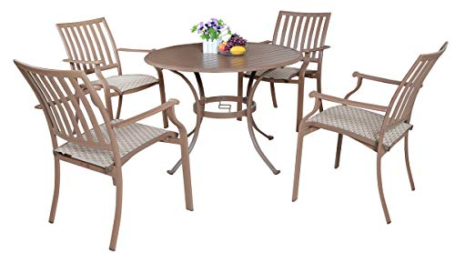 Panama Jack Outdoor Island Breeze 5-Piece Slatted Dining Group Set, Includes 4 Armchairs and 42-Inch Round Table Aluminum Slatted Table