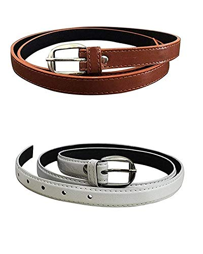 Veteran Women's,Ladies's,Girl's Belt For Jeans, Combo of Formal Casual Belts For Women/Girls Free Size (26-36)(Brown-White-045)