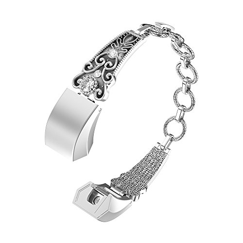 For Fitbit Alta Bands,Fitbit Fitness Wristband Stainless Steel Replacement with Diamonds Vintage Rhinestone Jewelry Strap for Fitbit Alta / Fitbit Alta HR (Vintage ()