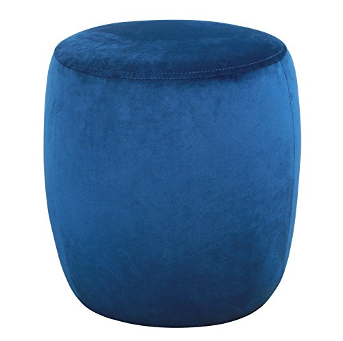 TOV Furniture The Willow Collection Modern Velvet Upholstered Round Ottoman, Navy