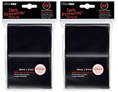Protect standard sized gaming and other cards (MTG, Pokemon, etc). high clarity and excellent quality From a TRUSTED brand name, ultra-pro. Black 200 Count bundle.