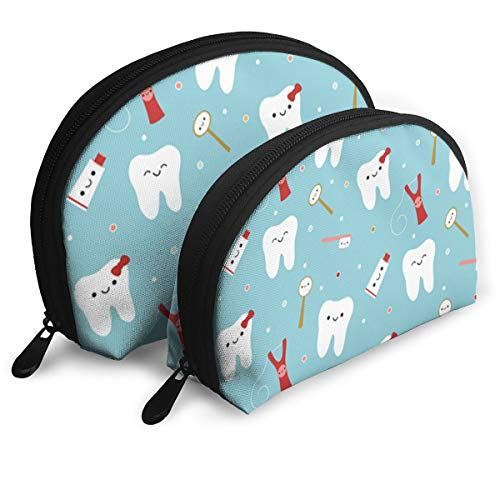 Dental Fibers Tooth Powder - JDISJLJ Cosmetic Travel Bag Dental Fabric Happy Teeth & Friends Shell Cosmetic Pouch Makeup Purse for Women Girls