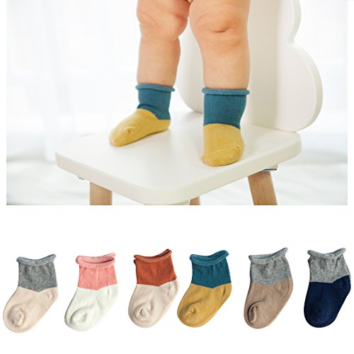 TRAVEL BUS Unisex-Baby Newborn Soft Cotton Infant Socks(6 Pack Socks) (S/6-12 M, Mixed)
