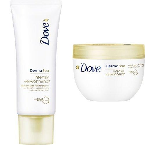DOVE DermaSpa Intensiv Verwöhnend³ Handcreme, 3er Pack (3 x 75 ml) + Body Crème, 1er Pack (1 x 300 ml)