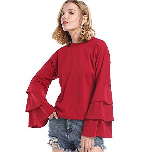 Clearance Women Blouse COPPEN Casual O-neck Ruffle Long