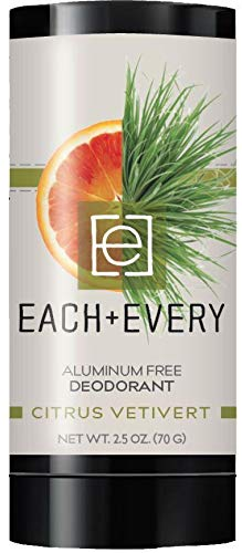 Each & Every All Natural Aluminum Free Deodorant for Women and Men - Cruelty Free Vegan Deodorant with Essential Oils, Non-Toxic, Baking Soda Free, Citrus Vetivert, 2.5 Oz.