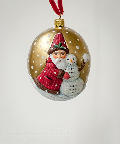 Vaillancourt Folk Art Jingle Ball Santa with Snowman
