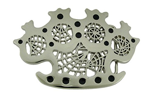 Spider Web Knuckles Chrome Silver Metal Rock Rebel Skeleton Logo Belt Buckle (Spider Buckle Belt Web)