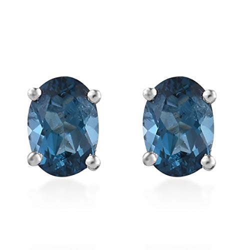 (925 Sterling Silver Platinum Plated Oval Blue Topaz Stud Solitaire Earrings for Women Cttw 1.6)