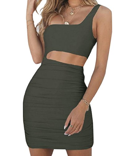 Coolred One Green Dress Pleated Bodycon Army Shoulder Sexy Sundress Waist Solid Women T1wTqrgfA