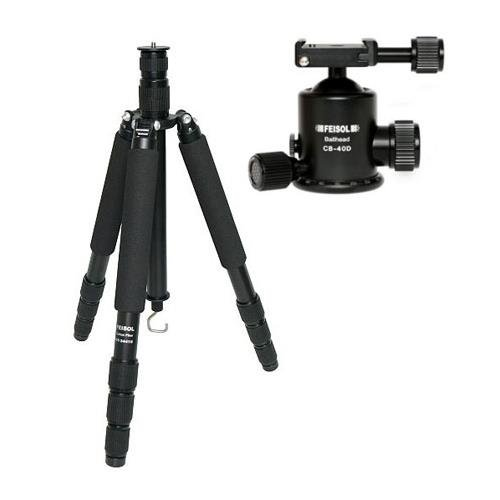 Feisol Traveler Tripod 4 Section Carbon Fiber Tripod with CB-40D Ball Head, Supports 44 lbs., Max Height 73.6'' by Feisol