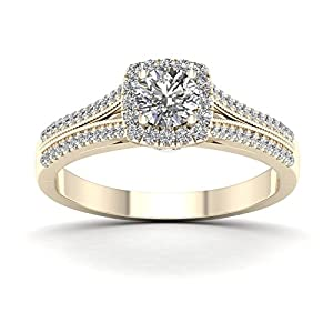 De Couer 10K Yellow Gold 1/2ct TDW Diamond Split Shank Engagement Ring (H-I, I2)