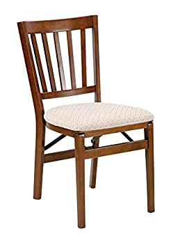 Schoolhouse Wood Folding Chair with Upholstered Seat Set of 2 Finish Fruitwood