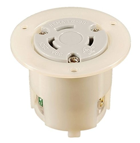 NEMA L6-30 Locking Flanged Outlet, 30A 250V AC, 2 Pole 3 Wire, cUL Listed (1 Pack)