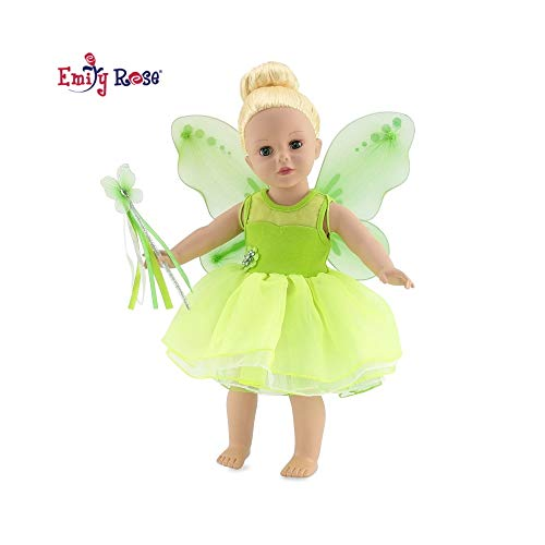 18 Inch Doll Clothes | Magical Tinker Bell Inspired Fairy Princess Doll Halloween Costume with Jeweled Accents, Removable Wings, and Magic Wand | Fits American Girl Dolls