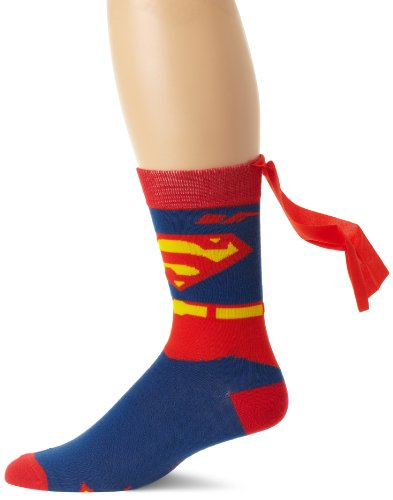 DC Comics Men's Superman Costume Crew Sock With Cape, Blue, Sock Size:10-13/Shoe Size: 6-12 -