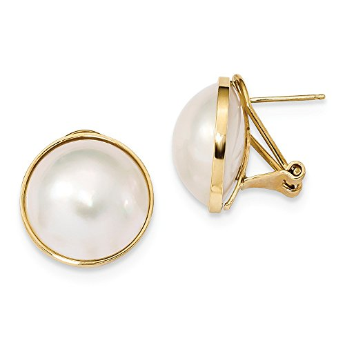 14k Yellow Gold 14-15mm White Mabe Freshwater Cultured Pearl Omega Back Earrings ()