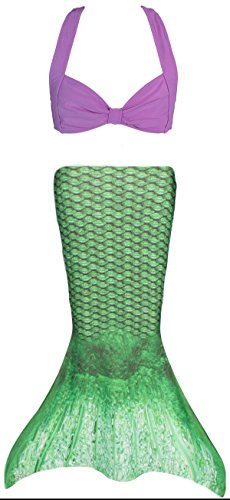[Fin Fun Toddler Mermaid Costume - Celtic Green Tail with Purple Bikini Top - Size 3T] (Little Mermaid Sister Costumes)