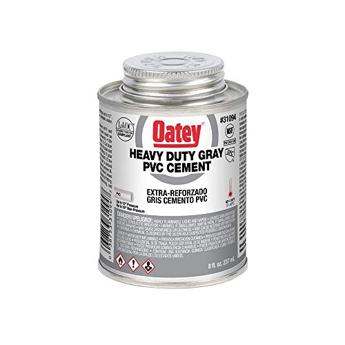Oatey 31094 Heavy Duty Solvent Cement, 8 Oz, Can, Gray, Liquid,