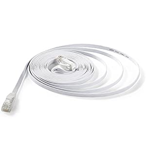 Hexagon Network - Ethernet Cable Cat6 Flat 15ft White, Network Cable Cat 6 Flat Slim Ethernet Patch Cable, Internet Cable With Snagless RJ45 Connectors - 15 Feet White