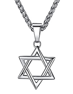 "Stainless Steel Star of David Pendant Necklace, Unisex, 24"" Link Chain, hhp010"