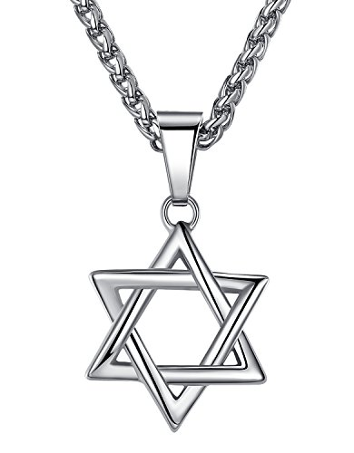 Aoiy Stainless Steel Star of David Pendant Necklace, Unisex, 24