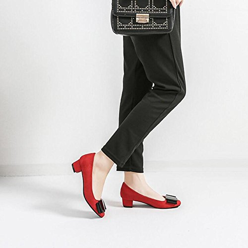 Red Buckle Sandals Noodles Metal Dress Flat Velvet Women Flat Square Rough High Heel qIU74P