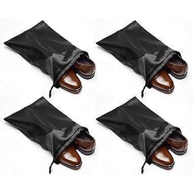 Travel Shoe Bags 21.5 x 15.5  w/ Drawstring (Black) -Set of 4 Soft Nylon Shoe Tote Bags