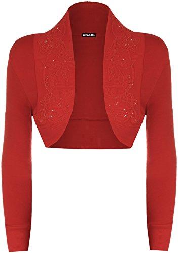 WearAll-Bolro-orn-de-perles--manches-longues-Hauts-Femmes-Rouge-48-50
