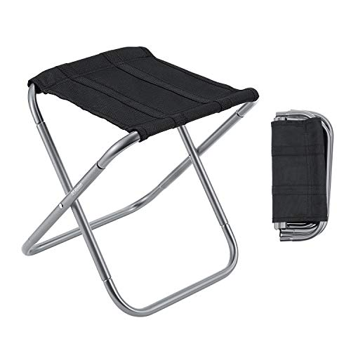 Gonex Folding Camping Stool, Lightweight & Portable Sturdy Chair for Picnic Camping Hiking Backpacking, Compact Traveling Foot Stool, Large Gray ()